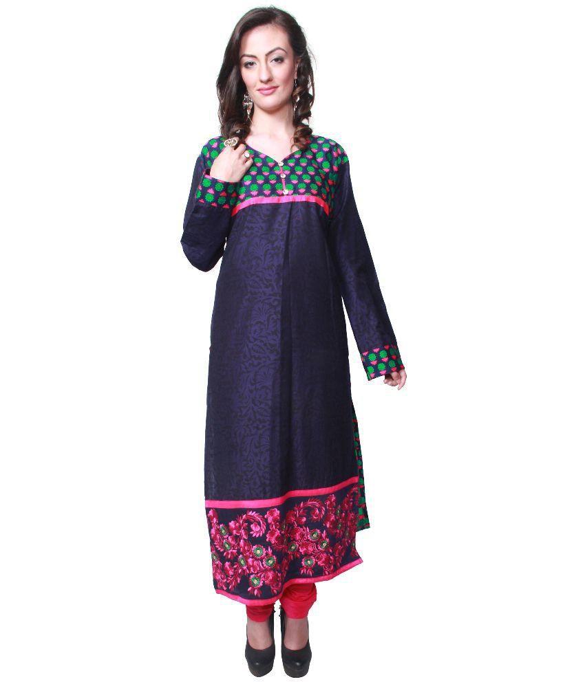Leela Navy Chanderi Stitched Suit