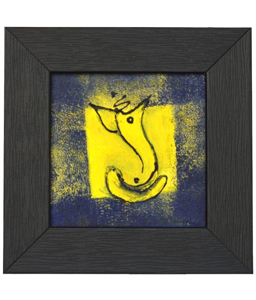 Rangvas Navy Blue and Yellow Ganesha Handmade Canvas Oil Painting