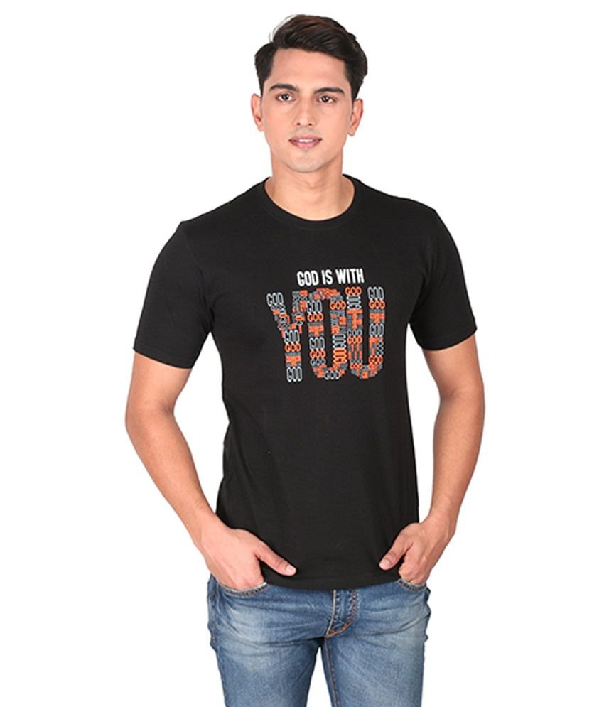 Tohfaa Black Round T Shirts
