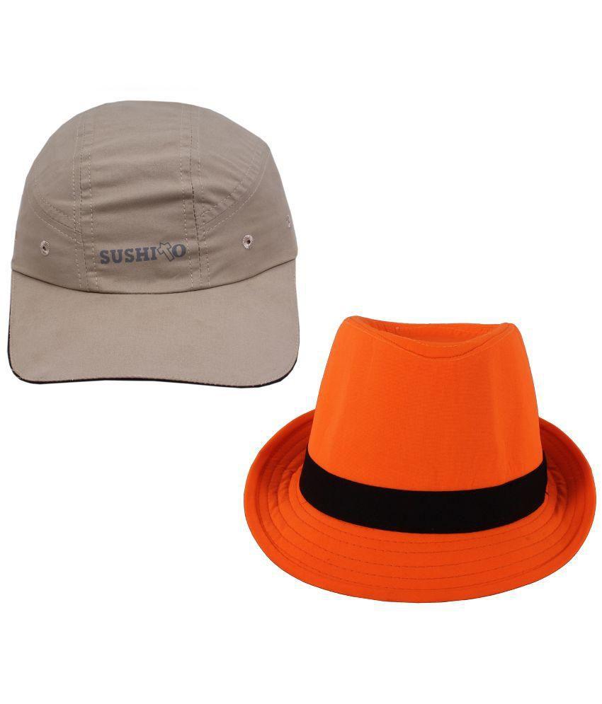 Sushito Gray and Orange Baseball Cap - Set of 2