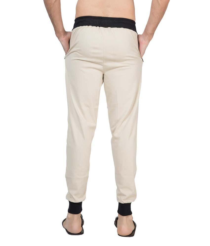 Clifton Fitness Men's Ribbed Slim Fit Track Pant -Stone