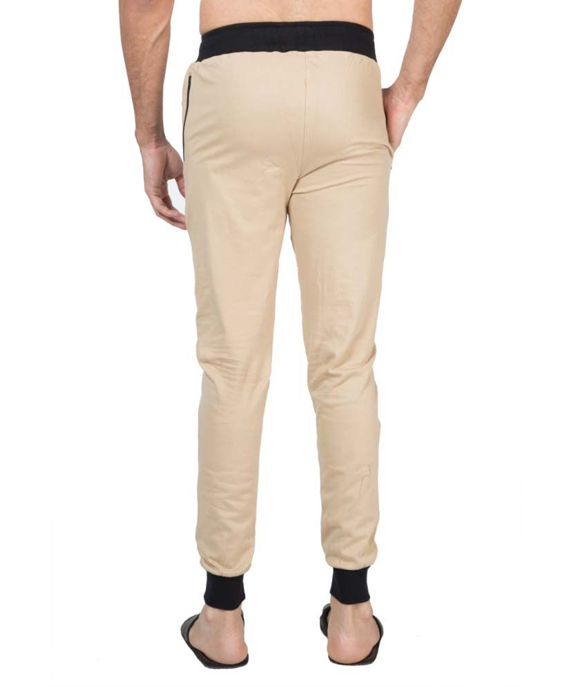 Clifton Fitness Men's Ribbed Slim Fit Track Pant -Beige