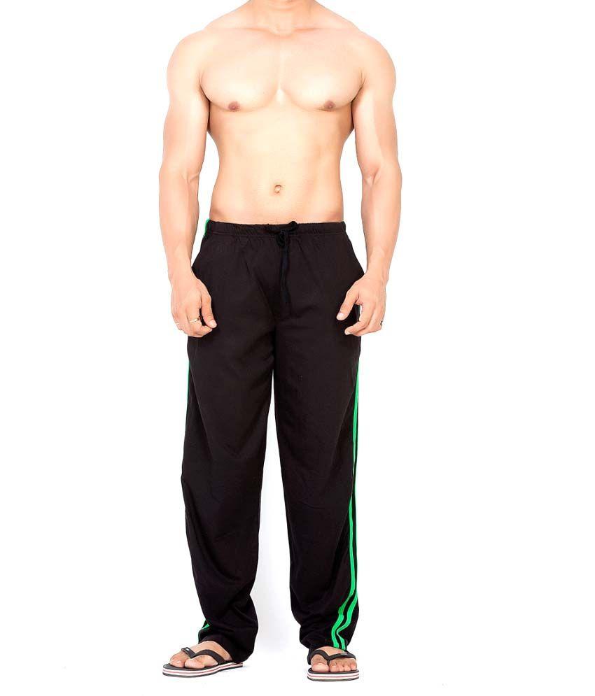 Clifton Fitness Men's Track Pant Striper -Black & Deep Green