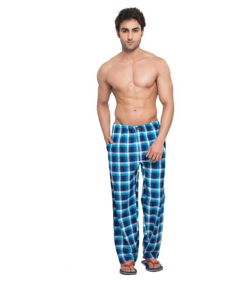 Clifton Men's Woven Pyjama -Royal Blue & White Checks