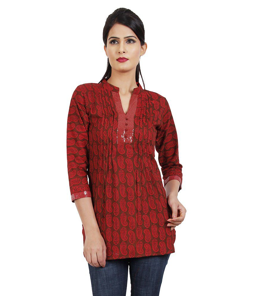 Esoft Red Straight Cotton Kurti