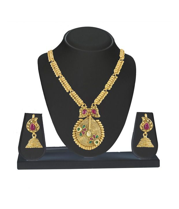 Kanish Golden Alloy Necklace Set