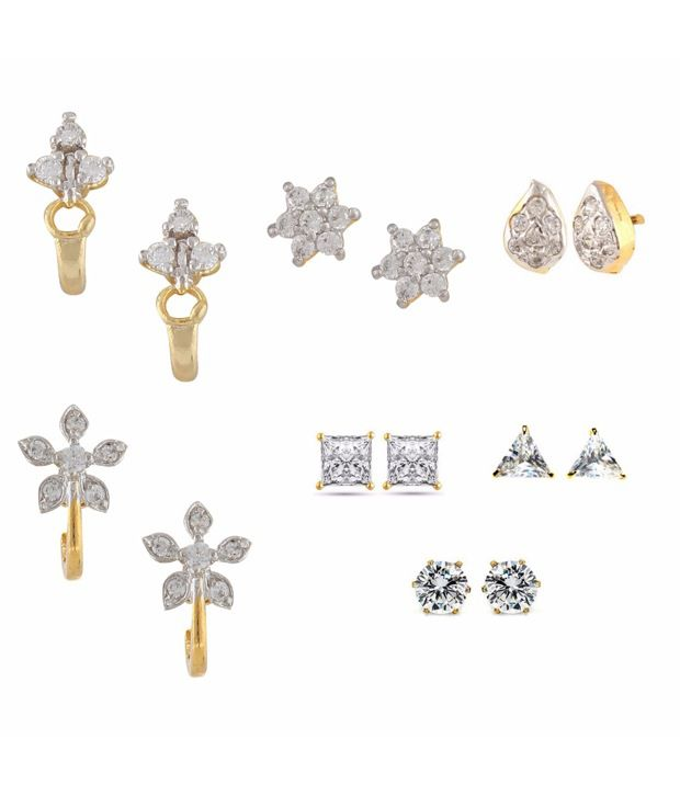 Parijaat Combo of Gold Plated CZ Studs Earrings