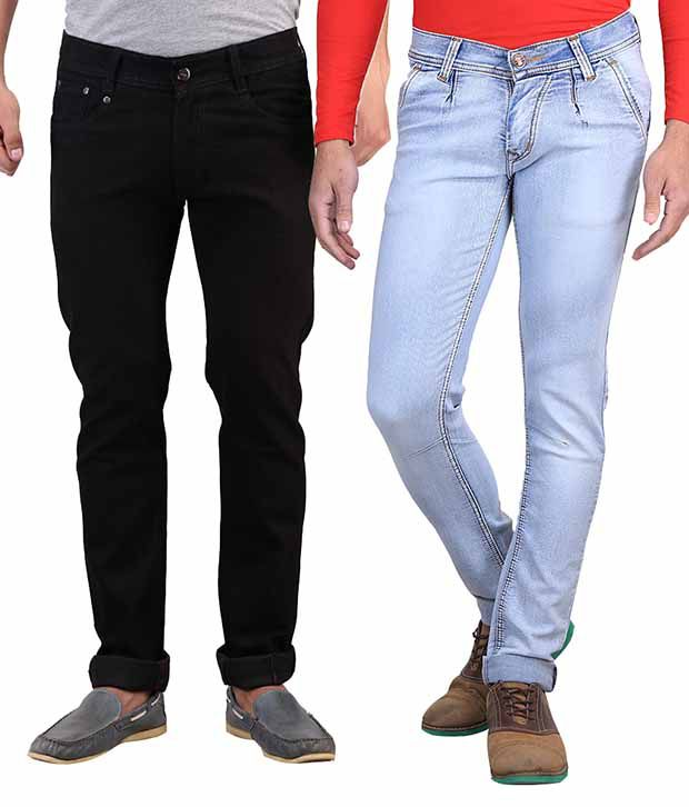 X-cross Blue Slim Fit Jeans With Black Jeans