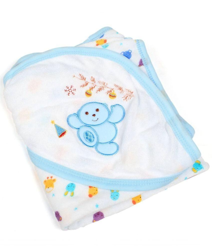 Baby Bucket Blue and White Cotton Hooded Towel/Wrapper