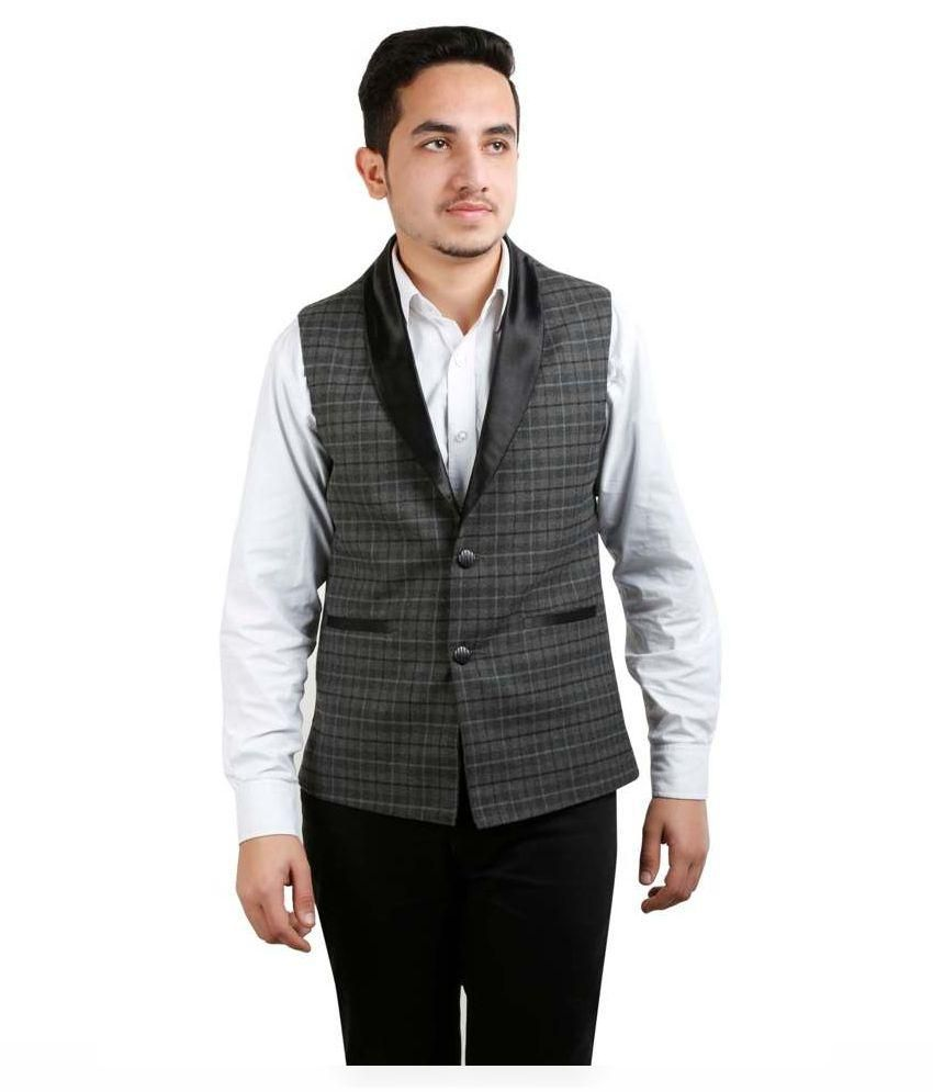 Fashion N Style Grey Formal Waistcoats