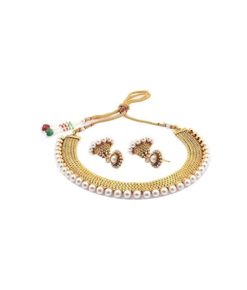 Jewels Gehna Golden Alloy Necklace Set