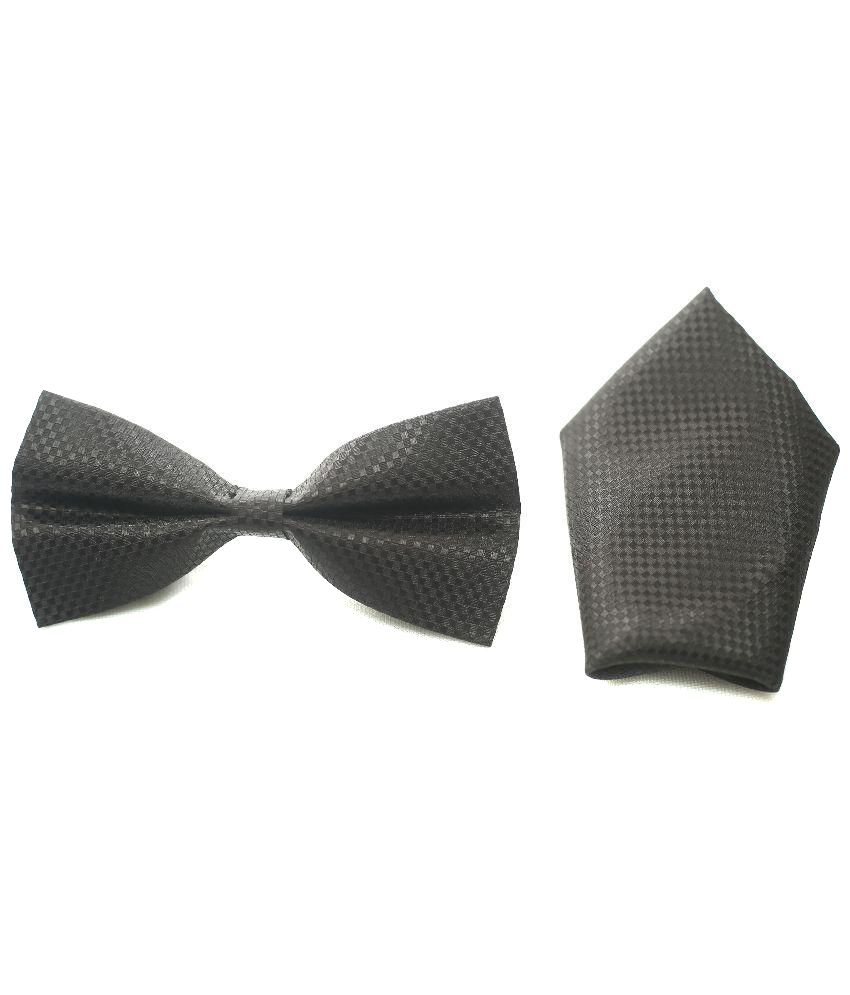 Knitknot Apparels Black Bow Tie With Pocket Square Combo