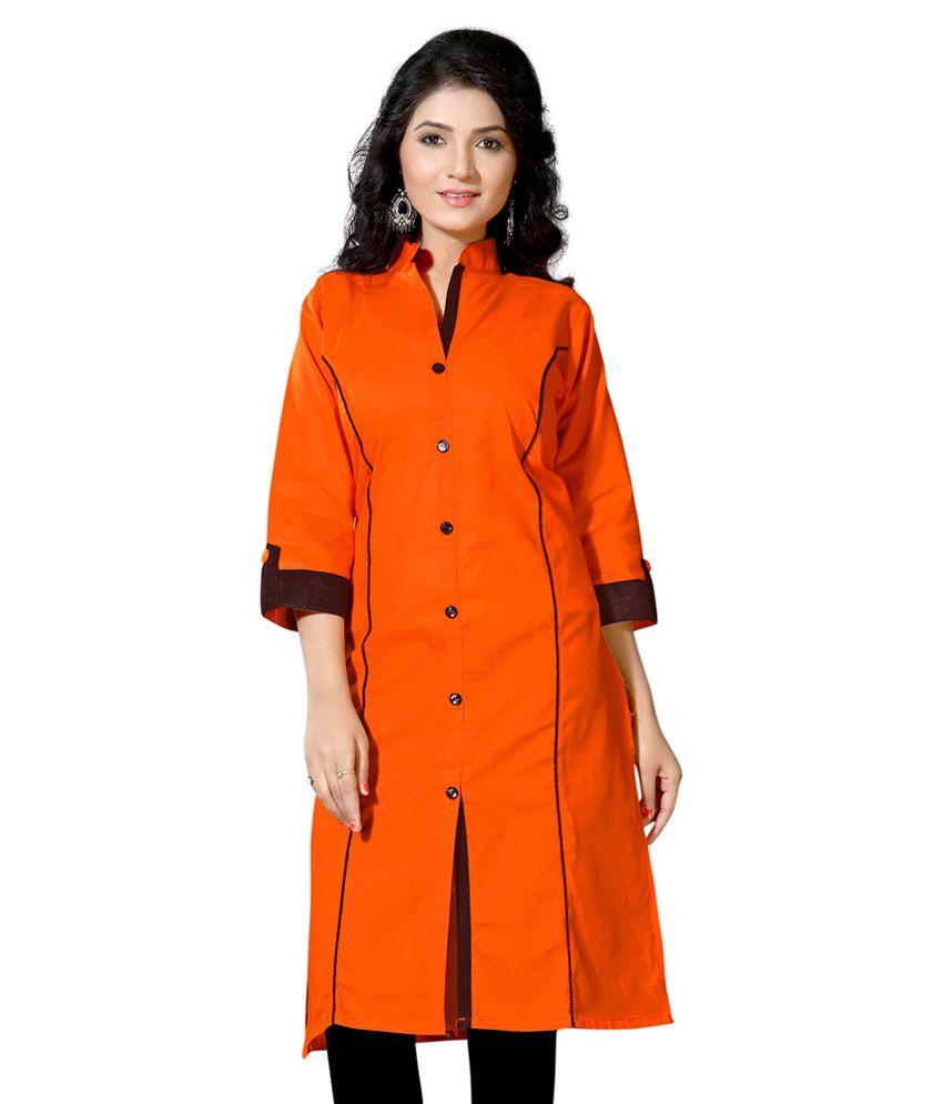 Velentino Trend Orange Straight Cotton Kurti