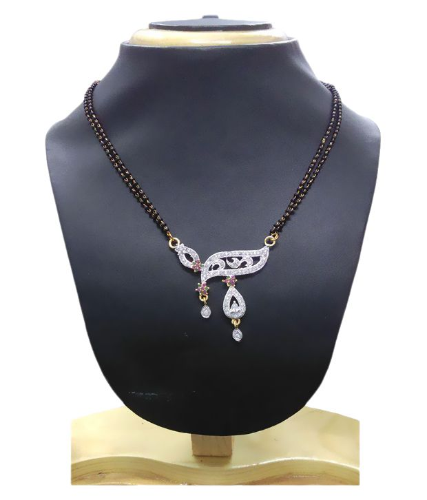 GJ Creations Black and Silver Brass Mangalsutra Set