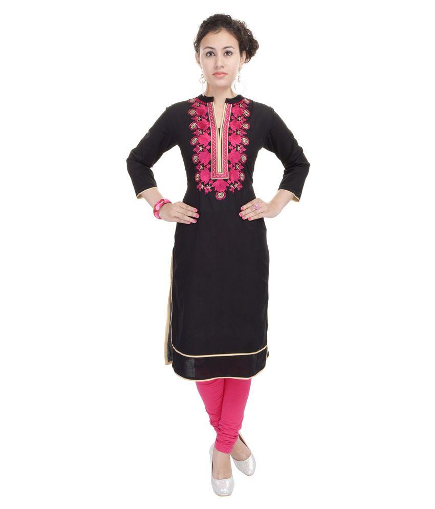 Heritage Jaipur Black Straight Cotton Kurti
