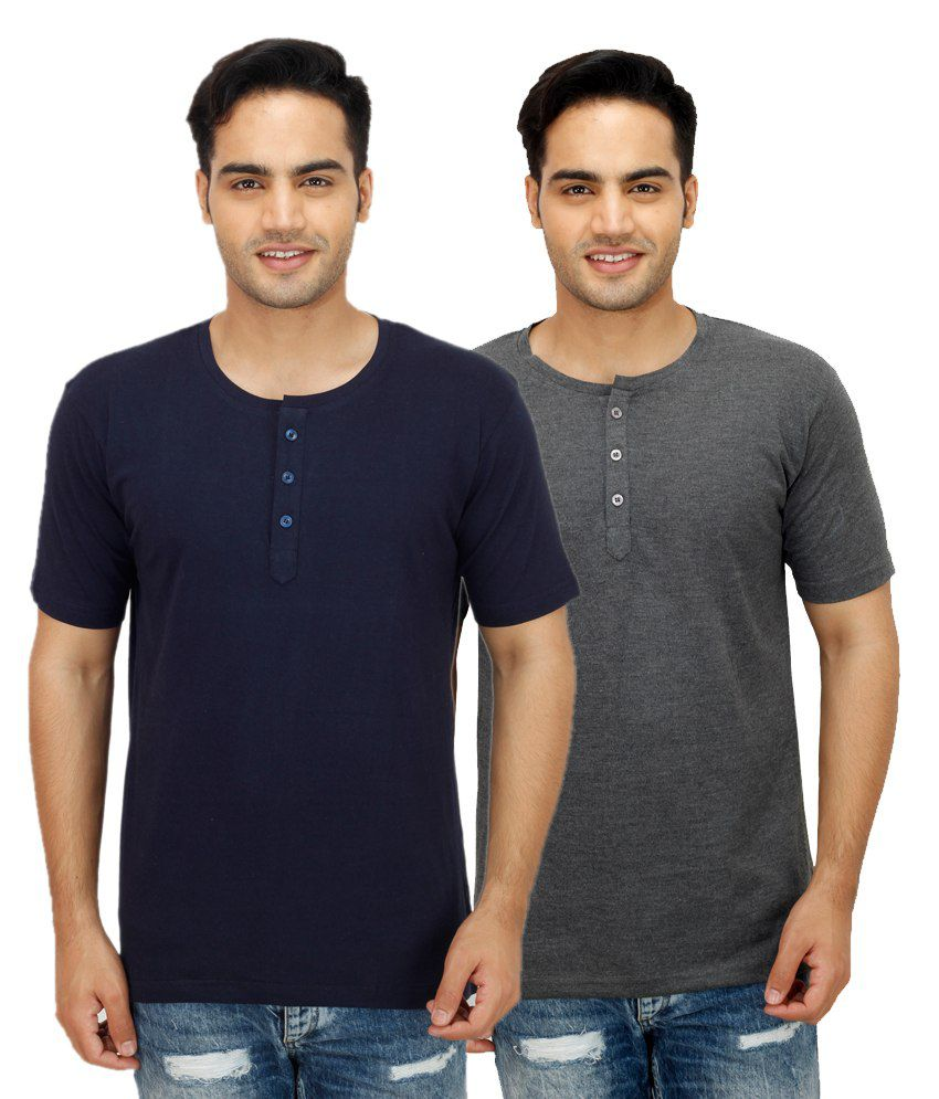 Ishmeet Multi Henley T Shirts Pack of 2