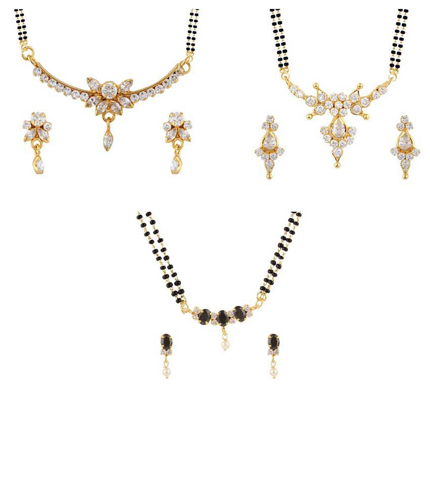Parijaat Combo Of Gold Plated 3 Cz Mangalsutra Set For Women