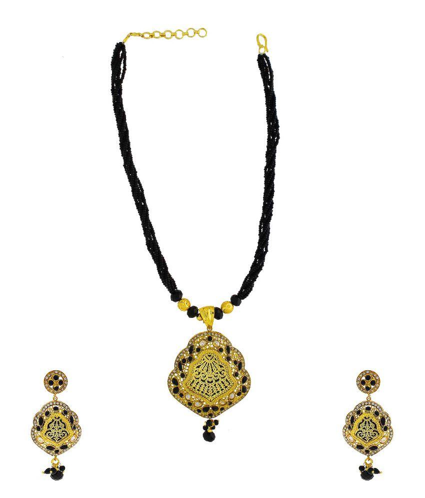 Anuradha Art Black Alloy Necklace Set
