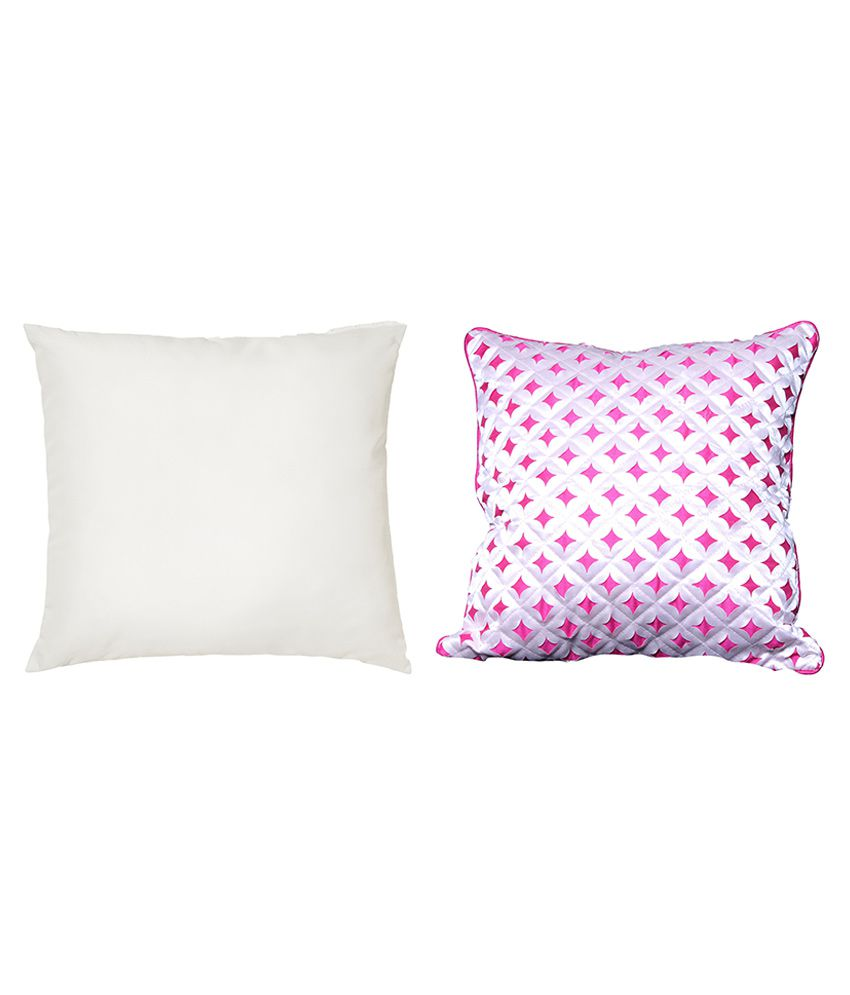 Car Vastra Pink & White Geometrical Polyester Cushion Covers with Fillers - Pack of 2