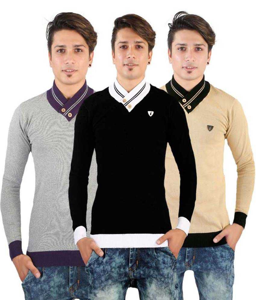Chill Mill Fashion Multi Henley T Shirts Pack of 3