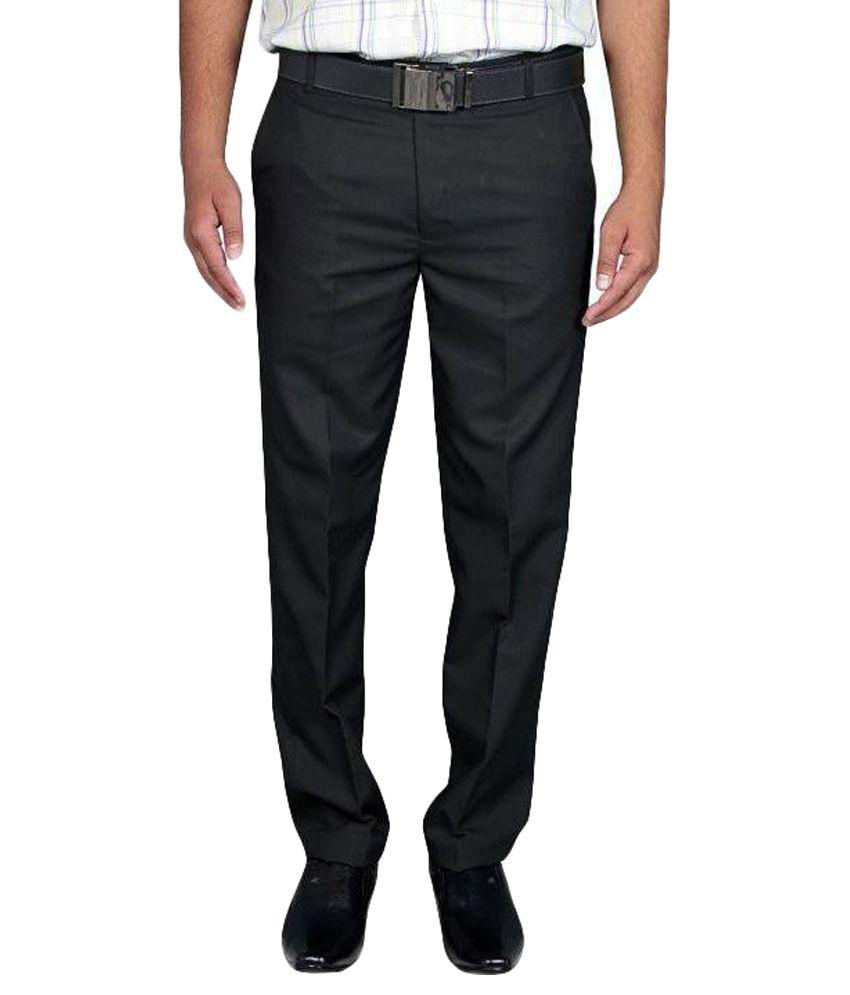 Machu Black Regular Fit Flat Trousers