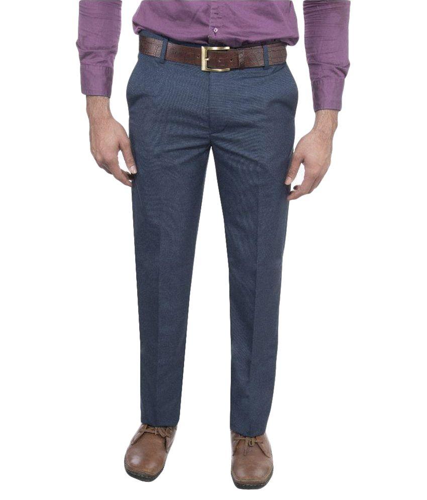 Machu Blue Regular Fit Flat Trousers