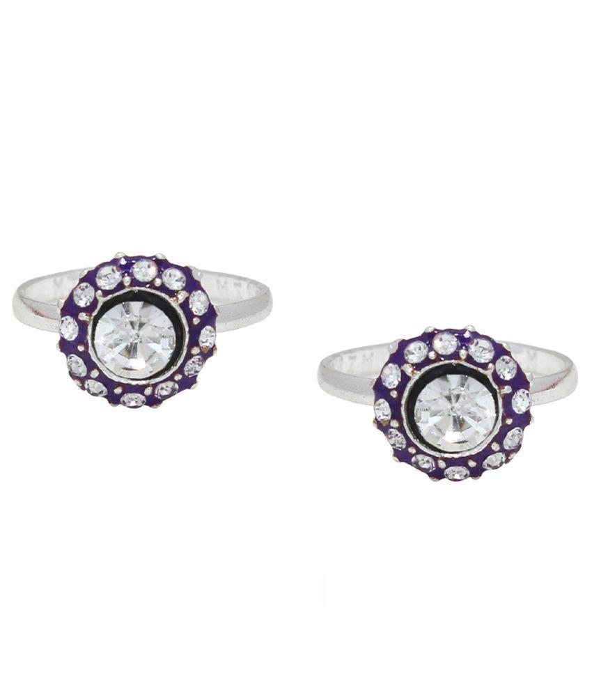 Ranvijay Silver and Purple Toe Ring - Set of 2