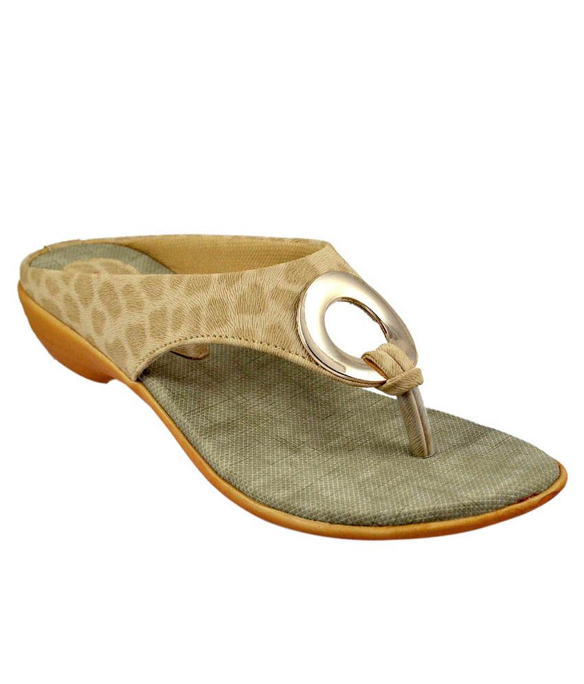 Sahebji Beige Slippers & Flip Flops