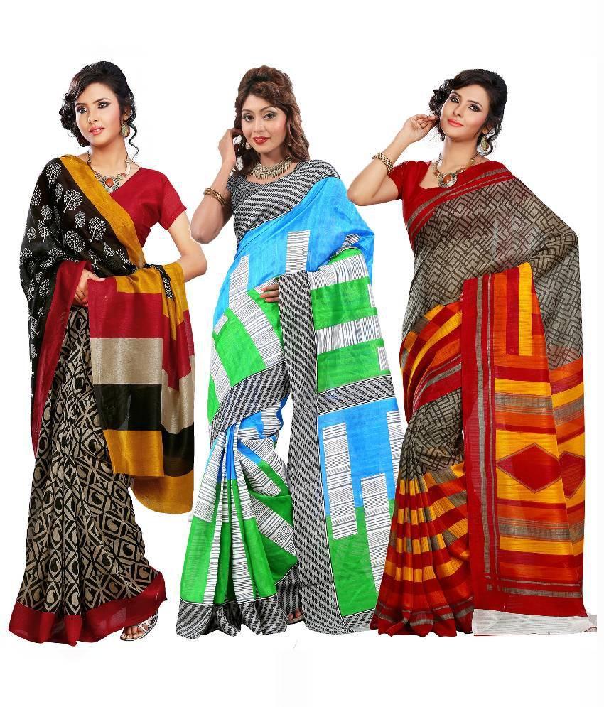 Arth Multicolour Bhagalpuri Silk Pack of 3