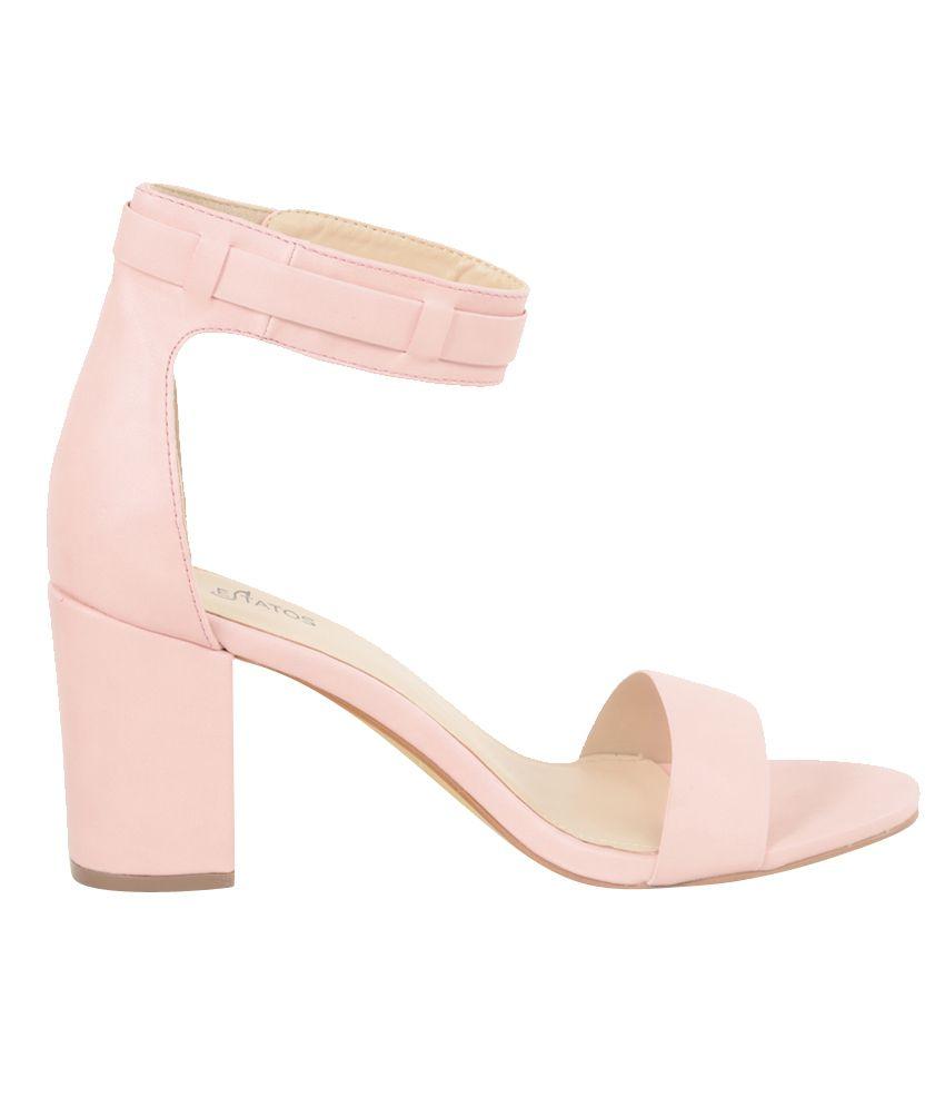 Estatos Pink Block Heels Price in India- Buy Estatos Pink Block ...