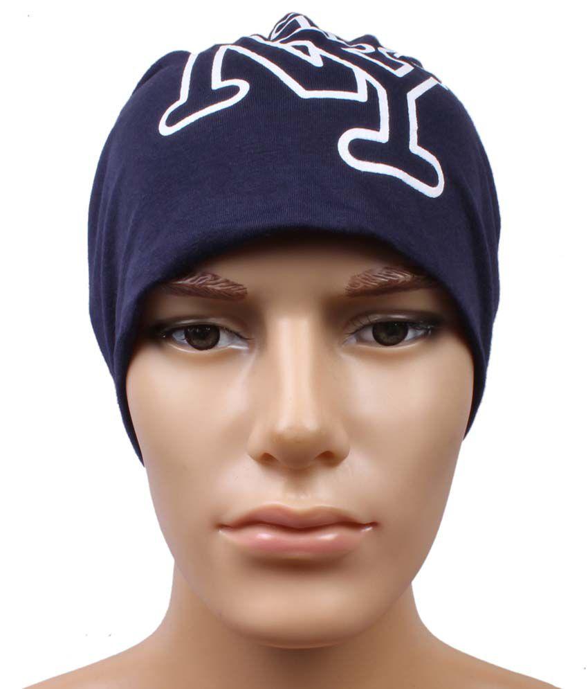 Jstarmart Blue Polyester Beanies Cap For Men