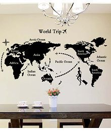 Stickerskart Black World Map In Black Colour Home Office Living Room Decoration Self-adhesive Vinyl Wall Stickers (60x90 cms)