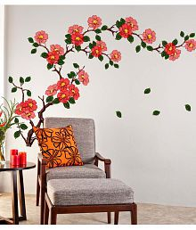 Quick View. Stickerskart Multicolor Floral Branch Sofa Living Room Background Antique Flowers Vinyl Art Wall Stickers ...