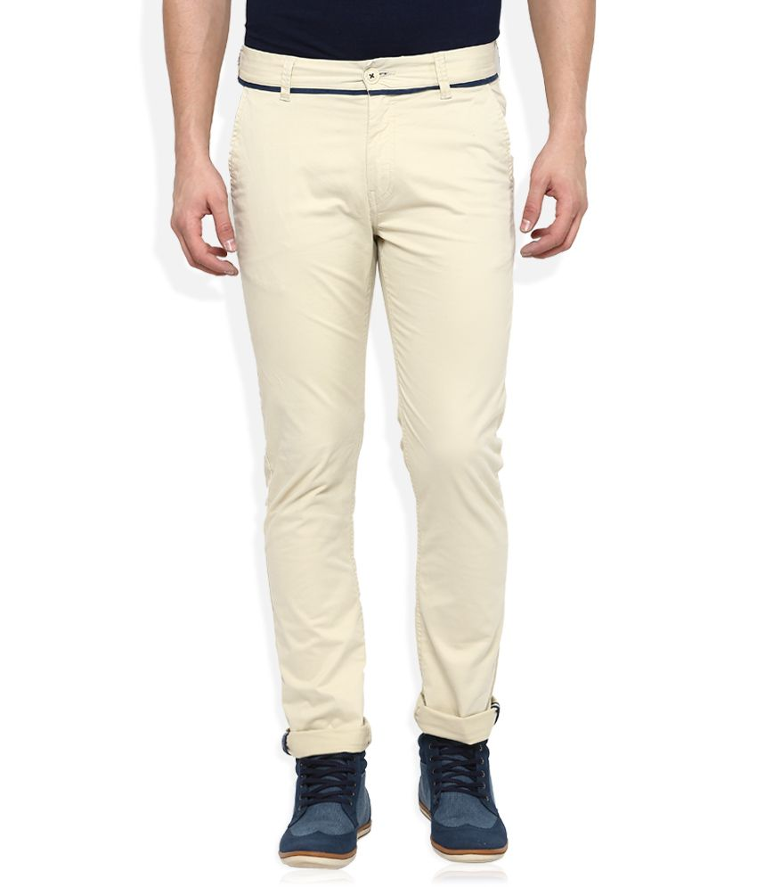 Being Human Beige Slim Fit Chinos