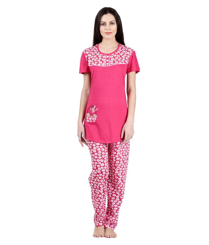 Christy World Pink Cotton Nightsuit Sets