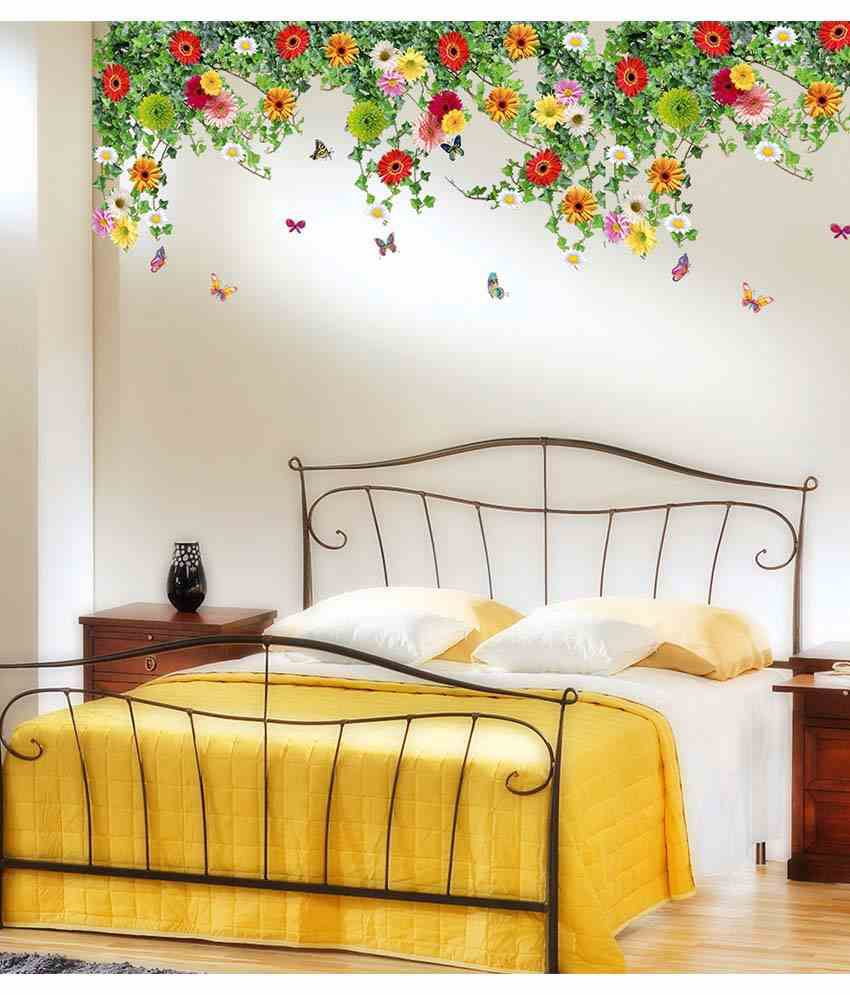Stickerskart multicolor bed room backdrop daisy flowers falling from ceiling border decoration Home interior design ideas in chennai