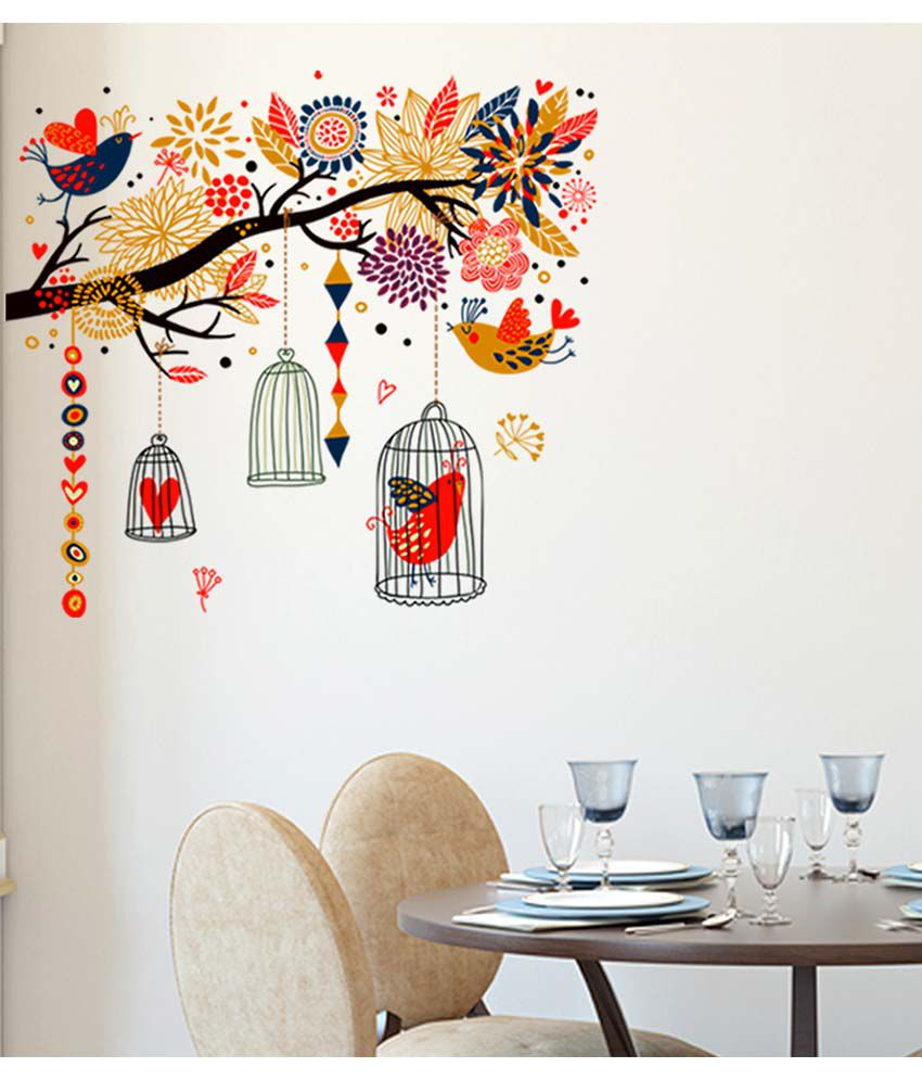 Stickerskart Multicolor Branch With Colourful Decorative Elements Living  Room Art Decal Birds And Cages Wall Stickers ...