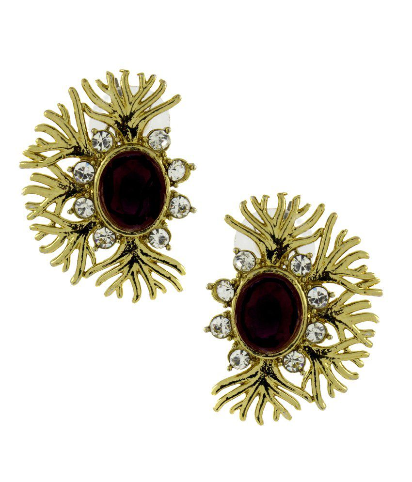 The Jewelbox Designer Filigree Spinal black Kundan Polki Pearl Antique Gold Plated Earring for Women
