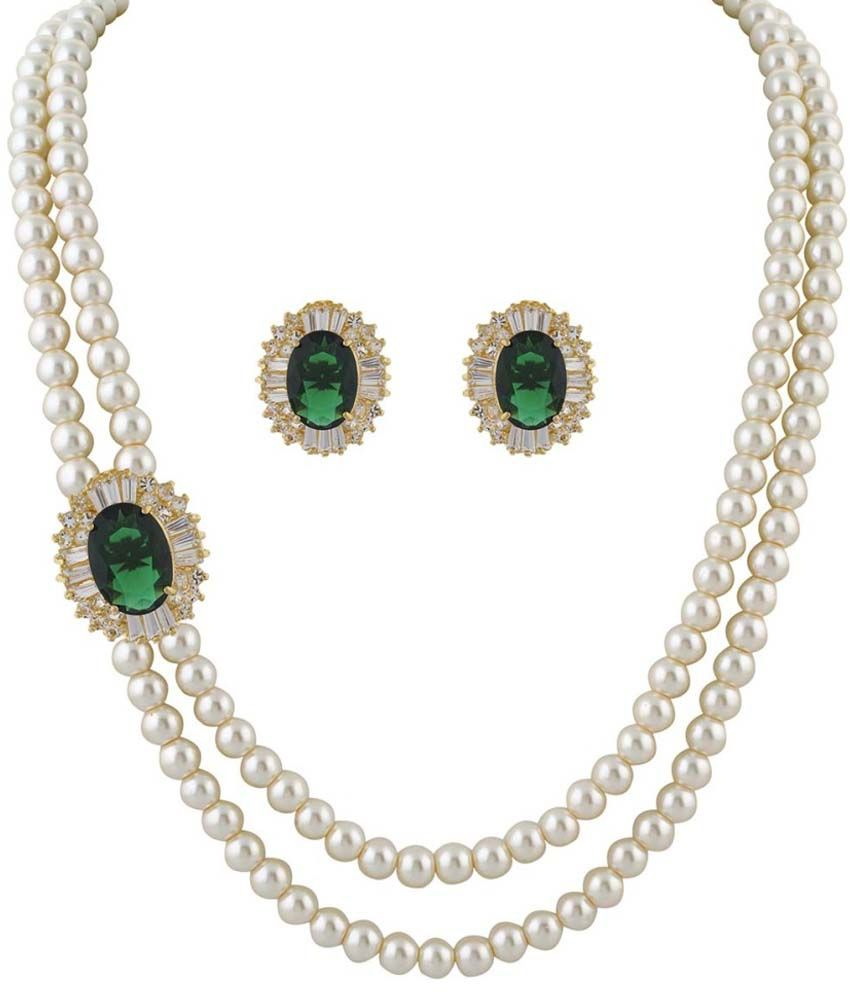 Classique Designer Jewellery White Alloy CZ Necklace Set