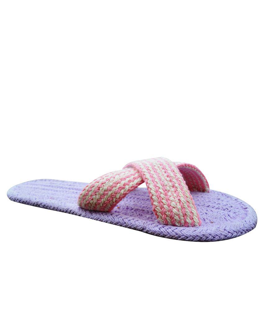 Homework Furnishings Purple Slippers & Flip Flops