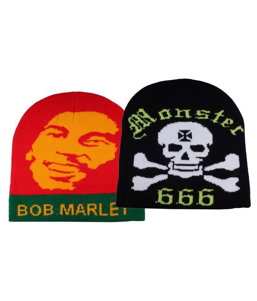 Jstarmart Multicolour Woolen Skull Cap for Men - Set of 2