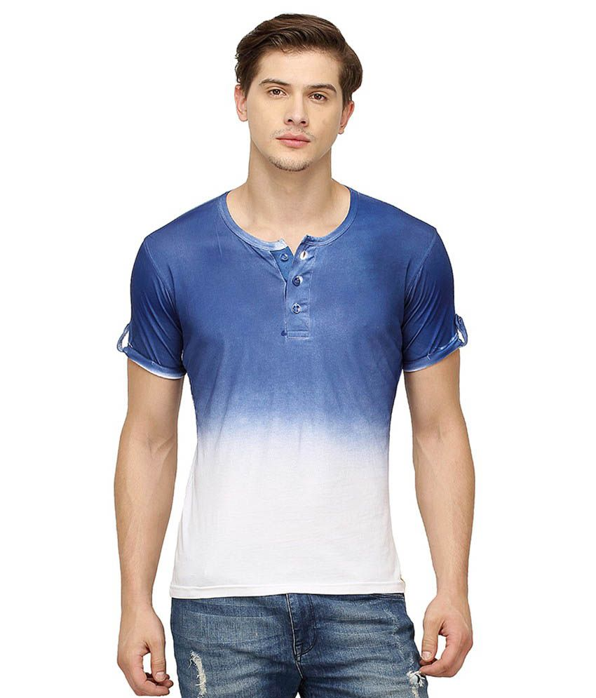 Campus Sutra Blue Henley T Shirts