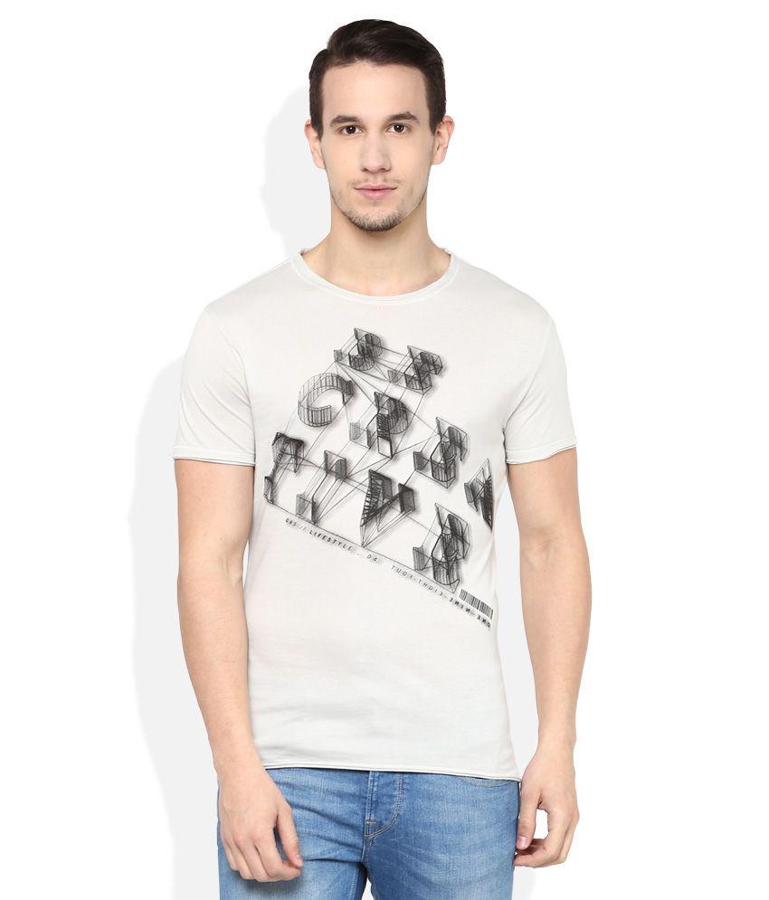 GAS Grey Printed T-Shirt