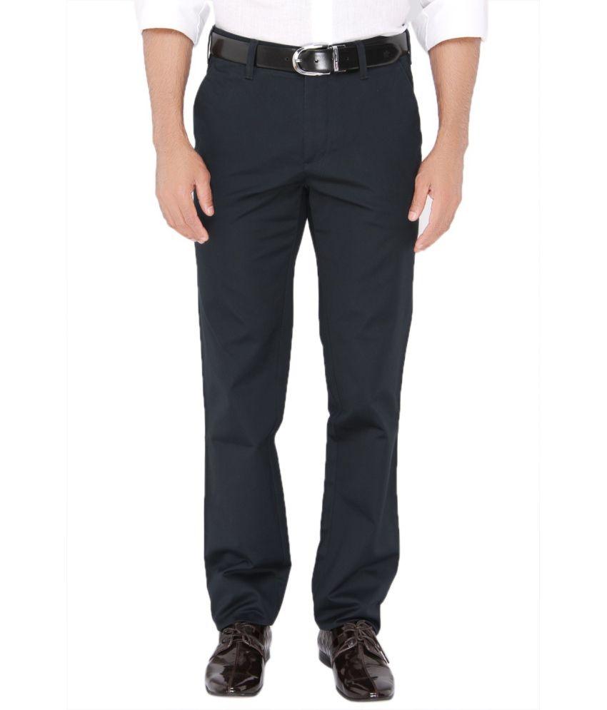 Jadeblue Blue Regular Fit Flat Trousers