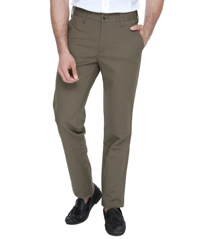 Jadeblue Brown Regular Fit Flat Trousers