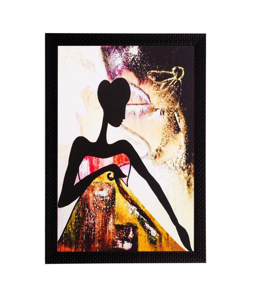 eCraftIndia Abstract Girl Matt Textured Framed UV Art Print