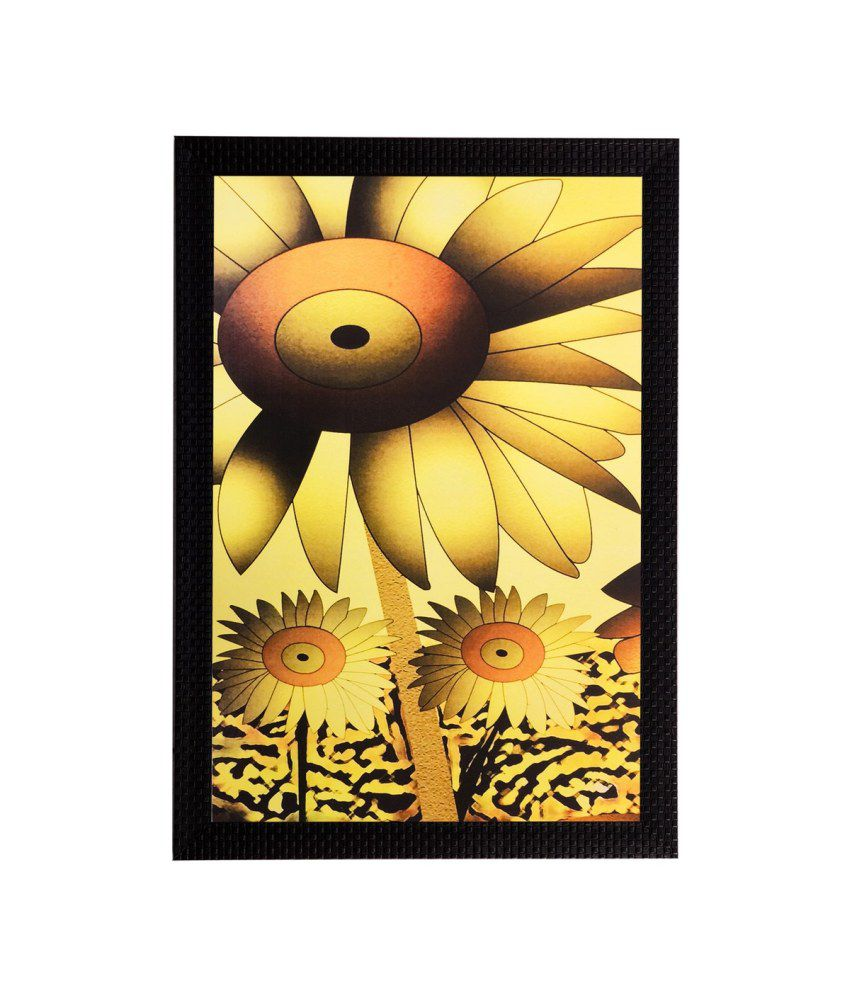 eCraftIndia Floral Matt Textured Framed UV Art Print