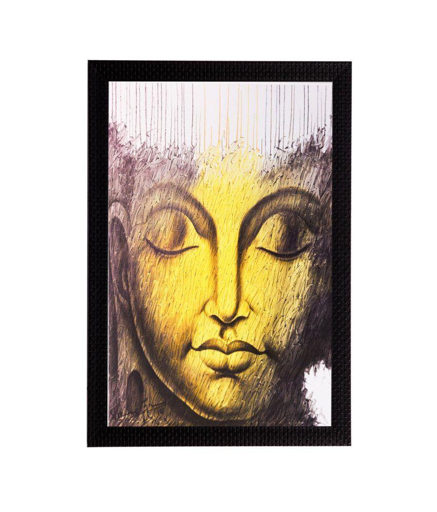 eCraftIndia Lord Buddha Matt Textured Framed UV Art Print