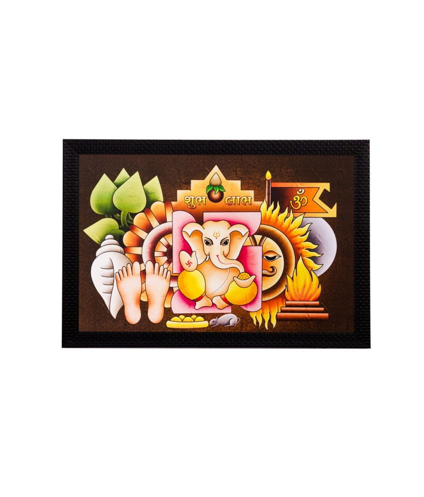 eCraftIndia Lord Ganesha Matt Textured Framed UV Art Print
