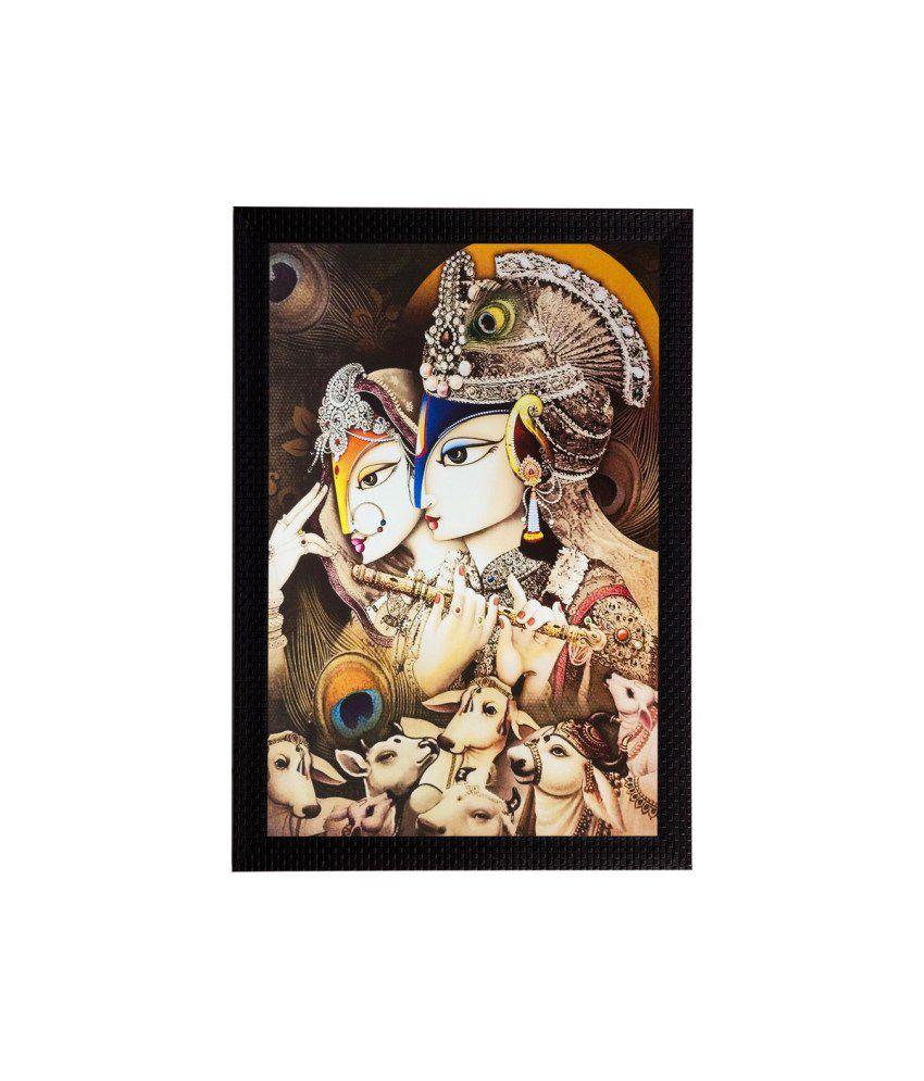 eCraftIndia Radha Krishna Matt Textured Framed UV Art Print